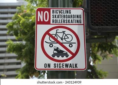 no rollerskating bicycling skateboarding sign in hawaii