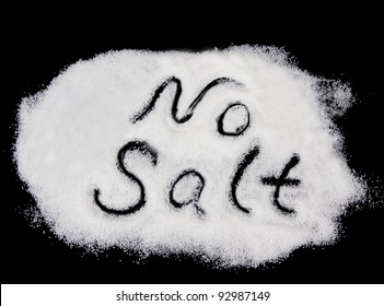 No salt text on salt on black background