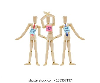 No Sexual Harassment Inappropriate gestures touching  Mannequin  Arms Raised protesting isolated on white background