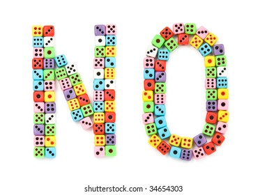 No sign, made of colorful dices, isolated on white