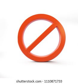 no sign red on a white background 3D illustration, 3D rendering