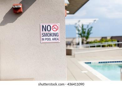 No Smoking Around Pool Sign