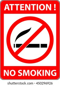 No smoking, cigarette, smoke and cigar prohibited symbol. Sign indicating the prohibition or rule. Warning and forbidden. Flat design. Illustration.