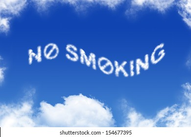 No smoking - cloud text on blue background