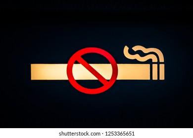 No smoking sign in an aircraft.