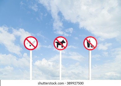 no smoking Sign, No Dogs or No Pets Allowed in This Area ,No fast food sign on sky background