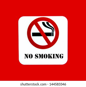 No smoking sign on the red background