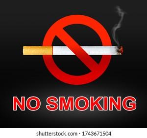 no smoking sign and smoke on black background