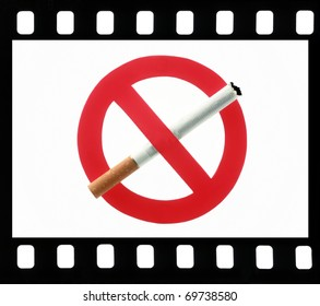No Smoking sign symbol in a film frame on a white background