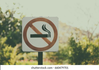 no smoking sign, vintage tone