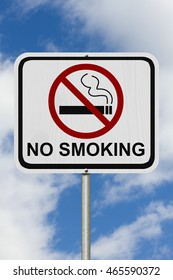 No Smoking Sign,  A white Road Sign with symbol of cigarette and forbidden symbol with sky background, 3D Illustration
