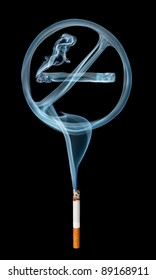 """""""No smoking"""" smoke sign coming from a cigarette isolated on black background."""