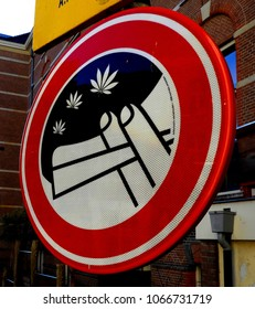 'No smoking weed' sign in Amsterdam, the Netherlands