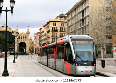 no specified persons in the photo but Monorail (Tramvia) train in Zaragoza, Spain, Feb 4, 2013