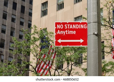 """No standing anytime"" sign."
