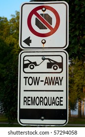No stopping - no parking - tow-away zone street sign.