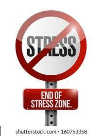 no stress road sign illustration design over a white background