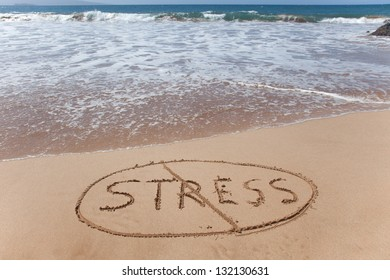 No stress! A simple concept image written in the sand on a beautiful Hawaii beach.