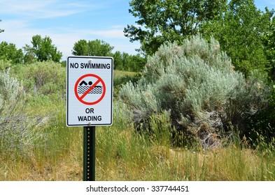 No Swimming No Wading sign