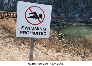 No Swimming warning sign prohibited against entering water to caution people of risk