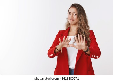 No thanks I pass. Portrait displeased girl expressing aversion antypathy dislike waving palms refusal, rejection gesture grimacing gross reluctant offer disgusted, white background
