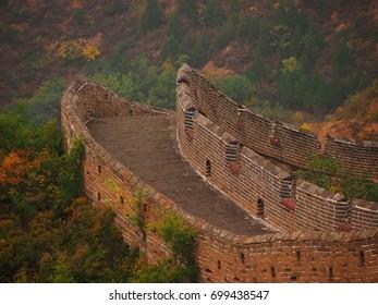 No tourists at an empty section of the Great Wall of China at Jinshanling
