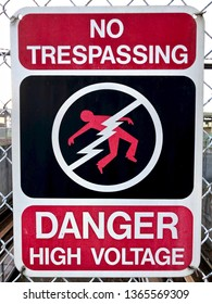No Trespassing danger high voltage with person being electrocuted symbol