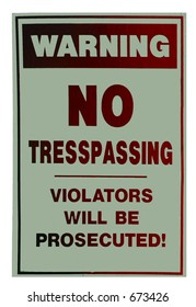No trespassing sign isolated on a white background
