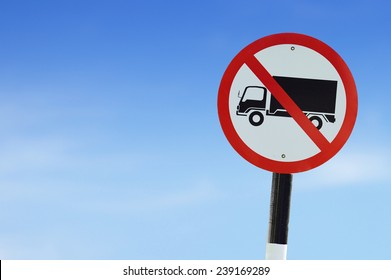 No truck red road sign on sky background