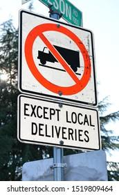 """No trucks except local deliveries"" sign in Richmond, BC (no logos)"