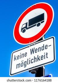 no turning option for trucks in germany - translation: no turning option