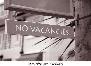 No Vacancies Sign outside of Hotel