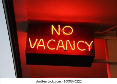 No Vacancy Hotel Sign Red