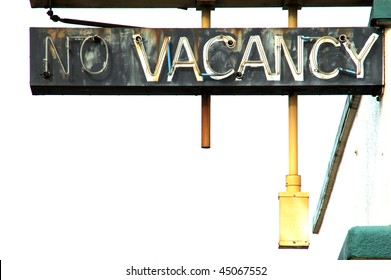 """""""No Vacancy and White"""" outside of old hotel, SE Stephens, Roseburg OR.  Hotel is now cheap apartments"""