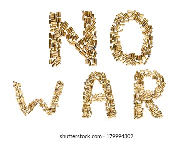 No war letters made from shells  isolated on white