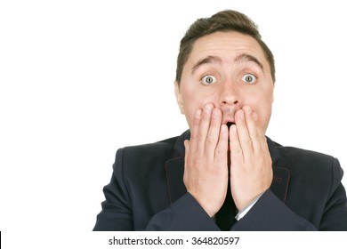 No way! Closeup portrait of a shocked man holding his face copyspace on the side