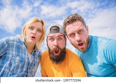No way. Friends shocked faces looking at you. That is impossible. Shocking news. Amazed surprised face expression. How to impress people. Shocking impression. Men with beard and woman looking shocked.