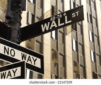 A No Way sign under a Wall Street sign in Manhattan, New York.