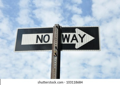 No Way Traffic Sign Arrow blue sky clouds