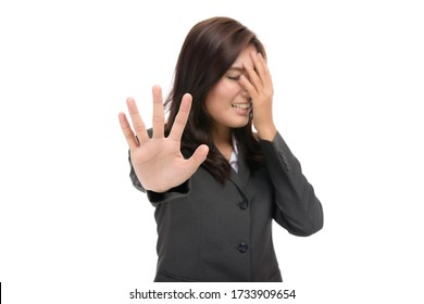 No way,Young business Asian woman showing denial with NO ,gesturing stop,symbol of rejection,concept Negative emotions and facial expression,isolated on white background