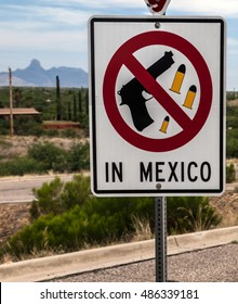 """No weapons in Mexico"", US citizens learn as they cross into the Central American country at the US-Mexican border in Nogales, Arizona"