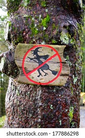 No Witches Sign on Fl�¸yen overlooking Bergen, Norway