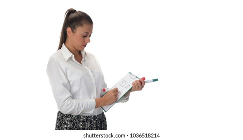 NO, YES, MAYBE Concept. Beautiful female holding clipboard and writing on it. isolated on white background