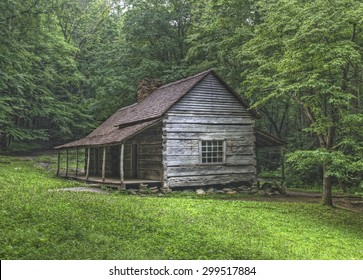 """Noah """"Bud"""" Ogle log cabin located in the Roaring Fork Area of the Great Smoky Mountains National Park, Tennessee.  Public Property no Property Release required."""