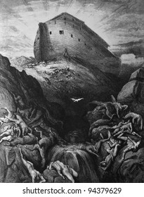 Noah released a dove. 1) Le Sainte Bible: Traduction nouvelle selon la Vulgate par Mm. J.-J. Bourasse et P. Janvier. Tours: Alfred Mame et Fils. 2) 1866 3) France 4) Gustave Doré