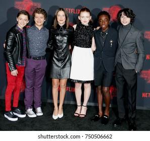 Noah Schnapp, Gaten Matarazzo, Millie Bobby Brown, Sadie Sink, Caleb McLaughlin and Finn Wolfhard at the Netflix's season 2 premiere of 'Stranger Things' held in Westwood, USA on October 26, 2017.