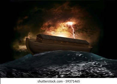 Noah's Ark riding on a swell after the Great Flood