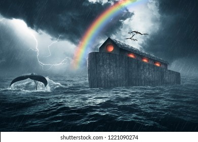 Noah's ark story, masterpiece of art created using four photos, the ark was made with custom shapes, color gradients, brushes and custom wood textures.