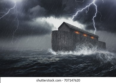 Noah's Ark vessel in the Genesis flood narrative by which God spares Noah, his family, and a remnant of all the world's animals from a world-engulfing flood.