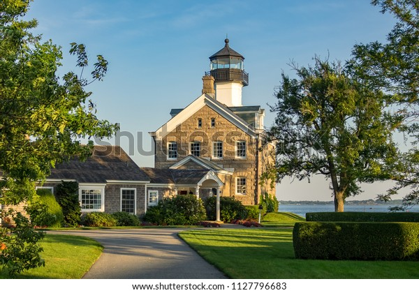 Noank, USA - July 1 2018: Old lighthouse at Morgan Point in Connecticut.